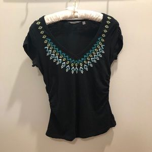 Athleta Tahoe Tee Size Small Black Ruched